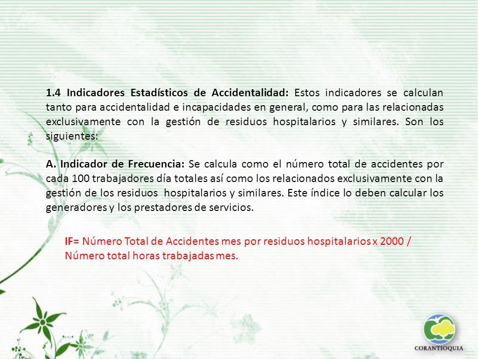 A. Indicador de Frecuencia: Se calcula como el número total de accidentes por cada 100 trabajadores día totales así como los relacionados exclusivamen