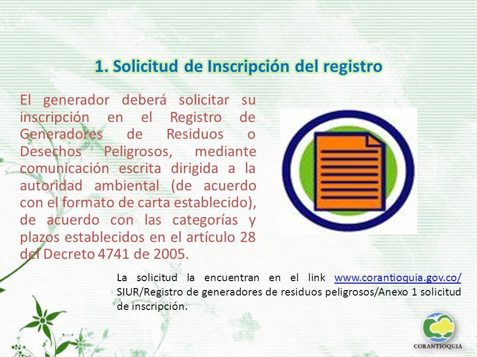 El generador deberá solicitar su inscripción en el Registro de Generadores de Residuos o Desechos Peligrosos, mediante comunicación escrita dirigida a la autoridad ambiental (de acuerdo con el formato de carta establecido), de acuerdo con las categorías y plazos establecidos en el artículo 28 del Decreto 4741 de 2005.