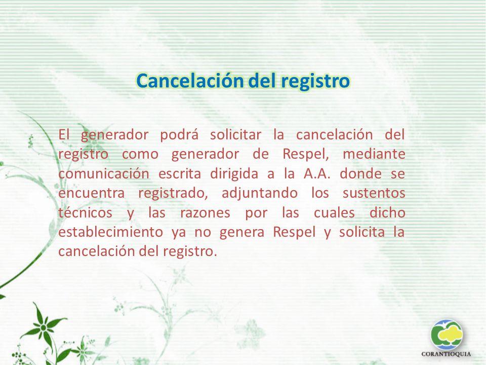El generador podrá solicitar la cancelación del registro como generador de Respel, mediante comunicación escrita dirigida a la A.A.