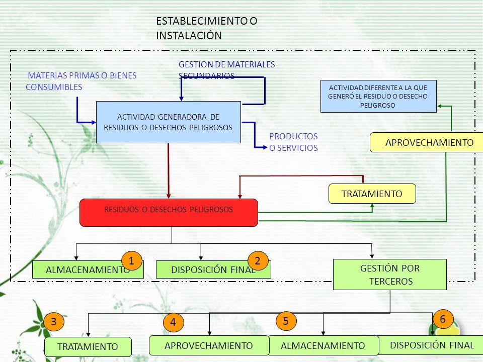 ESTABLECIMIENTO O INSTALACIÓN ACTIVIDAD GENERADORA DE RESIDUOS O DESECHOS PELIGROSOS MATERIAS PRIMAS O BIENES CONSUMIBLES PRODUCTOS O SERVICIOS GESTION DE MATERIALES SECUNDARIOS RESIDUOS O DESECHOS PELIGROSOS TRATAMIENTOAPROVECHAMIENTO ALMACENAMIENTODISPOSICIÓN FINAL ALMACENAMIENTOAPROVECHAMIENTO TRATAMIENTO 3 4 5 6 21 GESTIÓN POR TERCEROS ACTIVIDAD DIFERENTE A LA QUE GENERÓ EL RESIDUO O DESECHO PELIGROSO