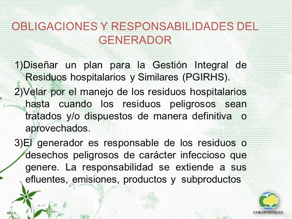 OBLIGACIONES Y RESPONSABILIDADES DEL GENERADOR 1)Diseñar un plan para la Gestión Integral de Residuos hospitalarios y Similares (PGIRHS).