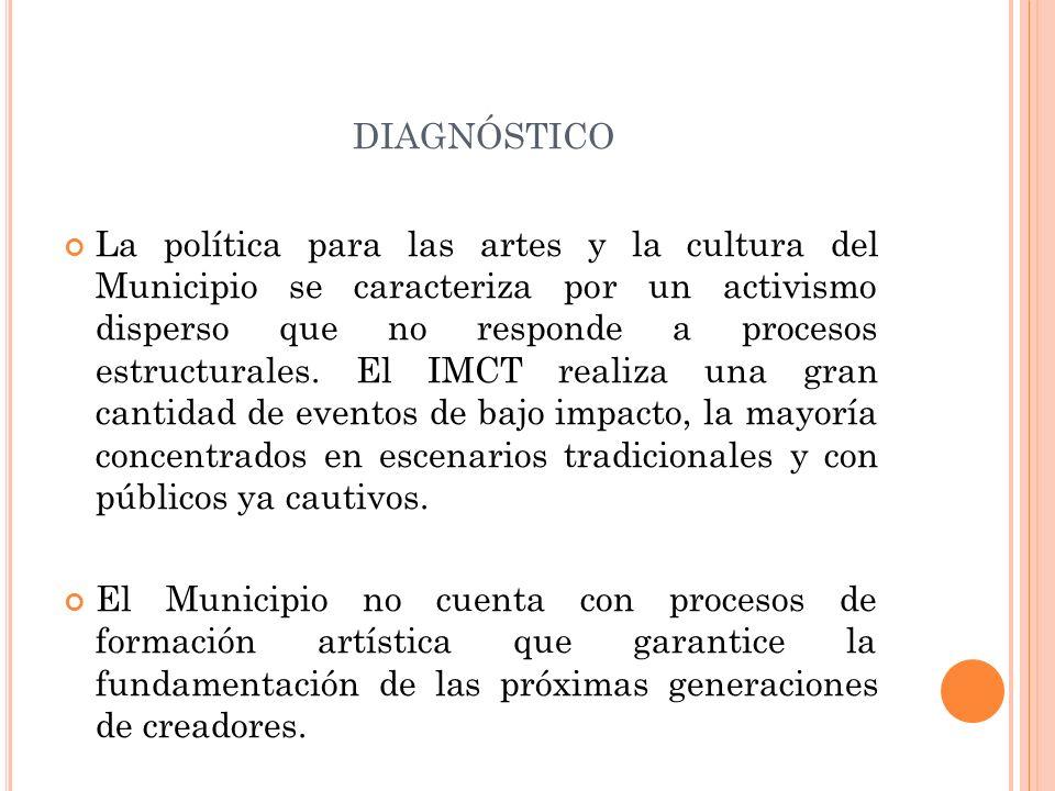 DIAGNÓSTICO La política para las artes y la cultura del Municipio se caracteriza por un activismo disperso que no responde a procesos estructurales. E