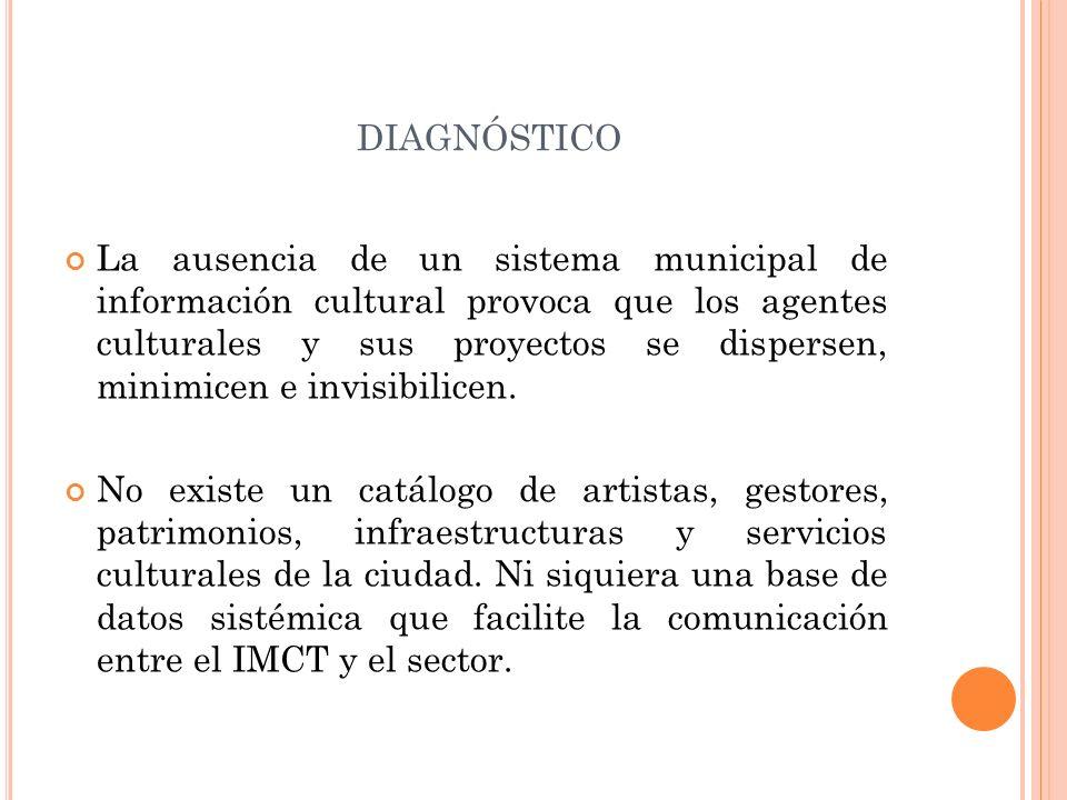 DIAGNÓSTICO La ausencia de un sistema municipal de información cultural provoca que los agentes culturales y sus proyectos se dispersen, minimicen e i