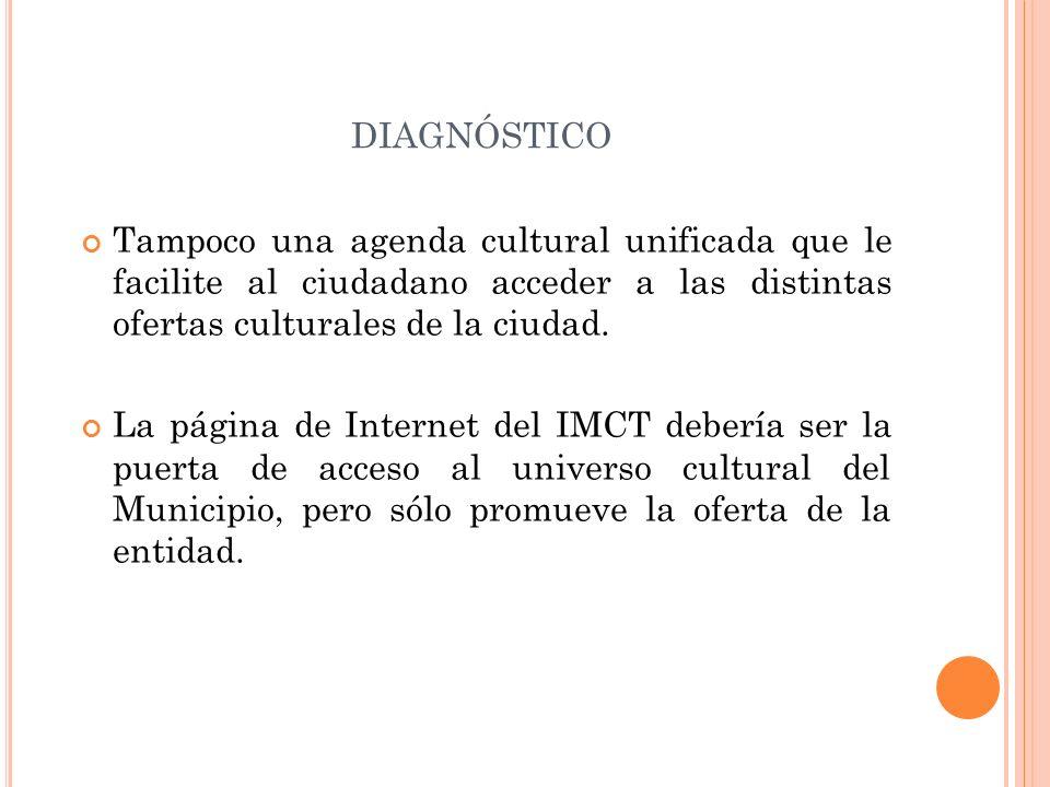 DIAGNÓSTICO Tampoco una agenda cultural unificada que le facilite al ciudadano acceder a las distintas ofertas culturales de la ciudad. La página de I