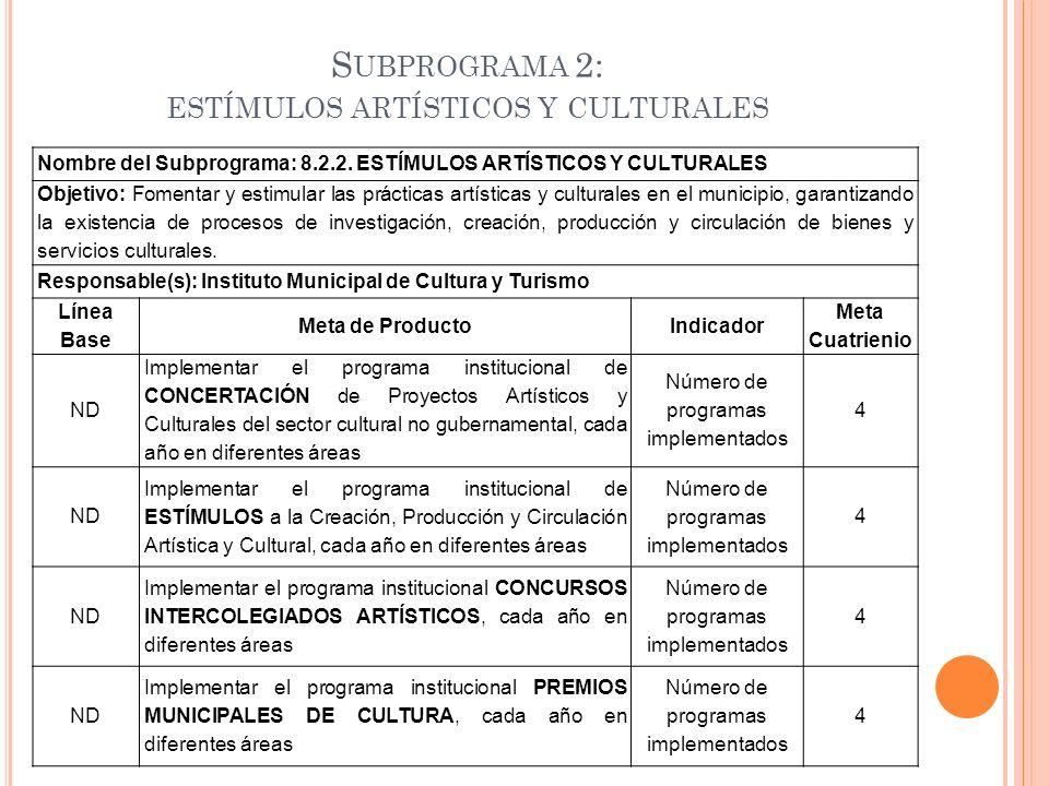 S UBPROGRAMA 2: ESTÍMULOS ARTÍSTICOS Y CULTURALES Nombre del Subprograma: 8.2.2. ESTÍMULOS ARTÍSTICOS Y CULTURALES Objetivo: Fomentar y estimular las