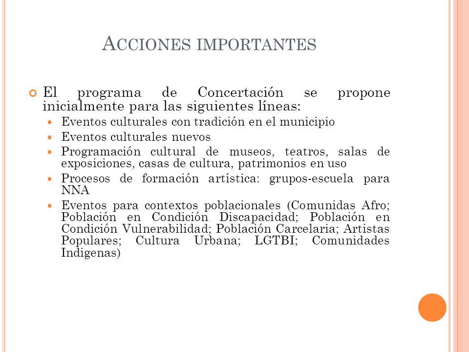 A CCIONES IMPORTANTES El programa de Concertación se propone inicialmente para las siguientes líneas: Eventos culturales con tradición en el municipio