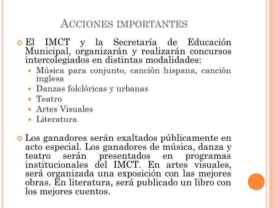 A CCIONES IMPORTANTES El IMCT y la Secretaría de Educación Municipal, organizarán y realizarán concursos intercolegiados en distintas modalidades: Mús