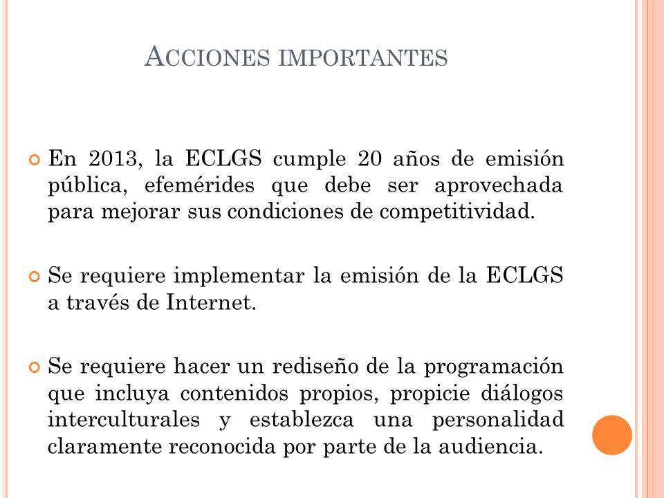A CCIONES IMPORTANTES En 2013, la ECLGS cumple 20 años de emisión pública, efemérides que debe ser aprovechada para mejorar sus condiciones de competi