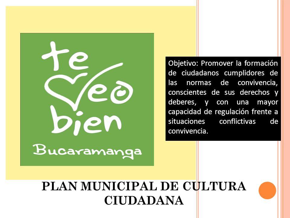 P ROGRAMA 4: PLAN MUNICIPAL DE CULTURA CIUDADANA Objetivo: Promover la formación de ciudadanos cumplidores de las normas de convivencia, conscientes d