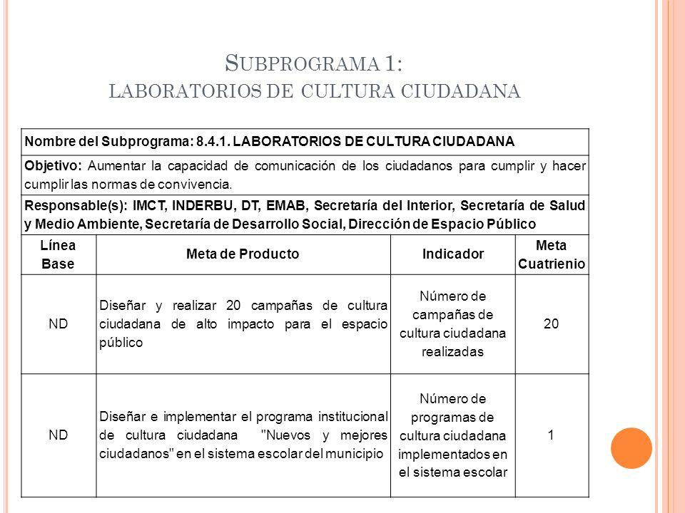 S UBPROGRAMA 1: LABORATORIOS DE CULTURA CIUDADANA Nombre del Subprograma: 8.4.1. LABORATORIOS DE CULTURA CIUDADANA Objetivo: Aumentar la capacidad de