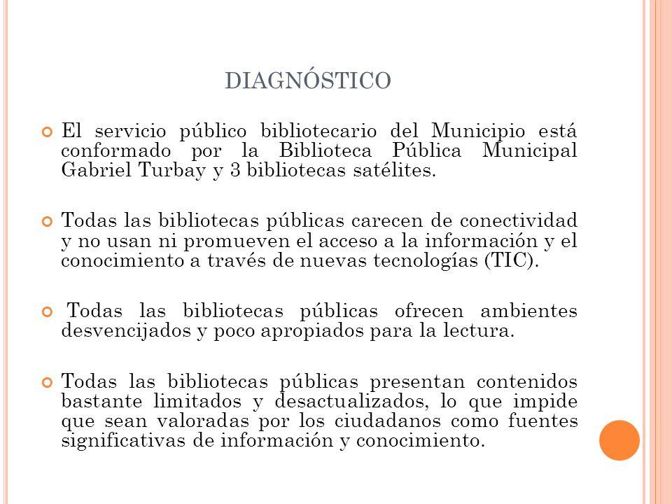 DIAGNÓSTICO El servicio público bibliotecario del Municipio está conformado por la Biblioteca Pública Municipal Gabriel Turbay y 3 bibliotecas satélit