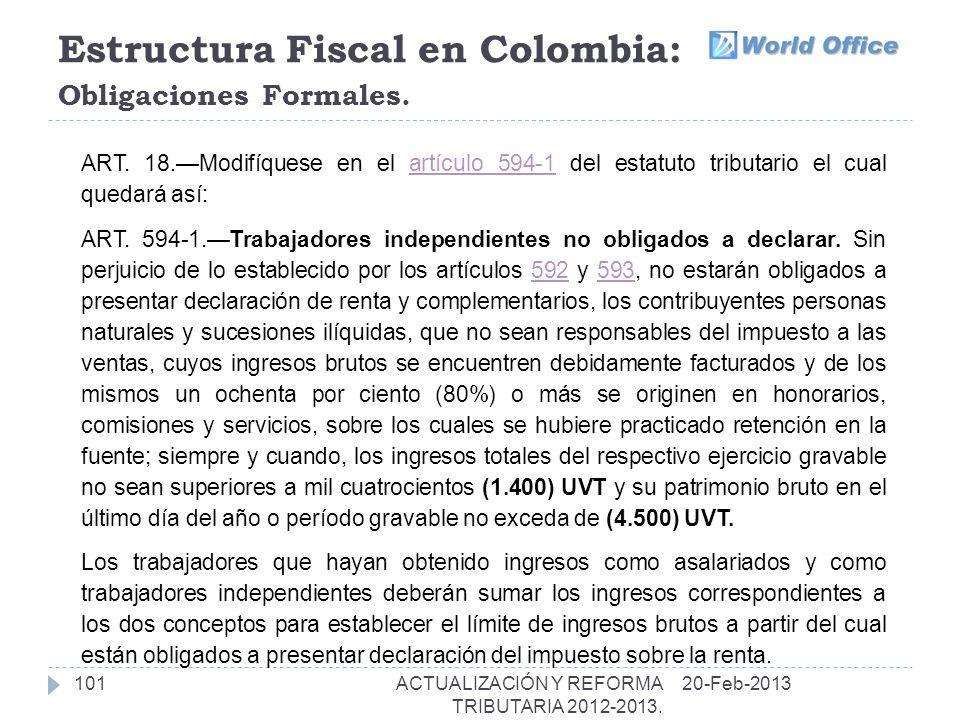 Estructura Fiscal en Colombia: Obligaciones Formales.