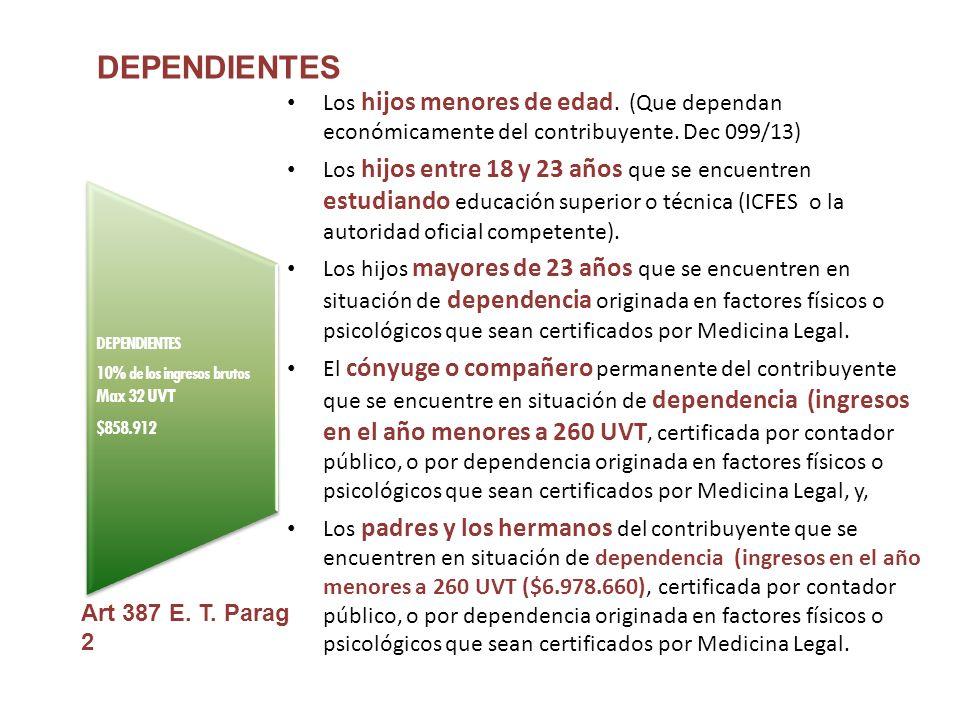 DEPENDIENTES 10% de los ingresos brutos Max 32 UVT $858.912 DEPENDIENTES Los hijos menores de edad.