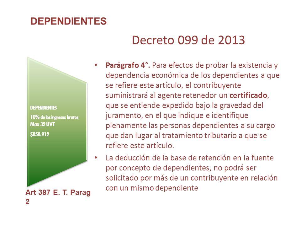 DEPENDIENTES 10% de los ingresos brutos Max 32 UVT $858.912 DEPENDIENTES Art 387 E.