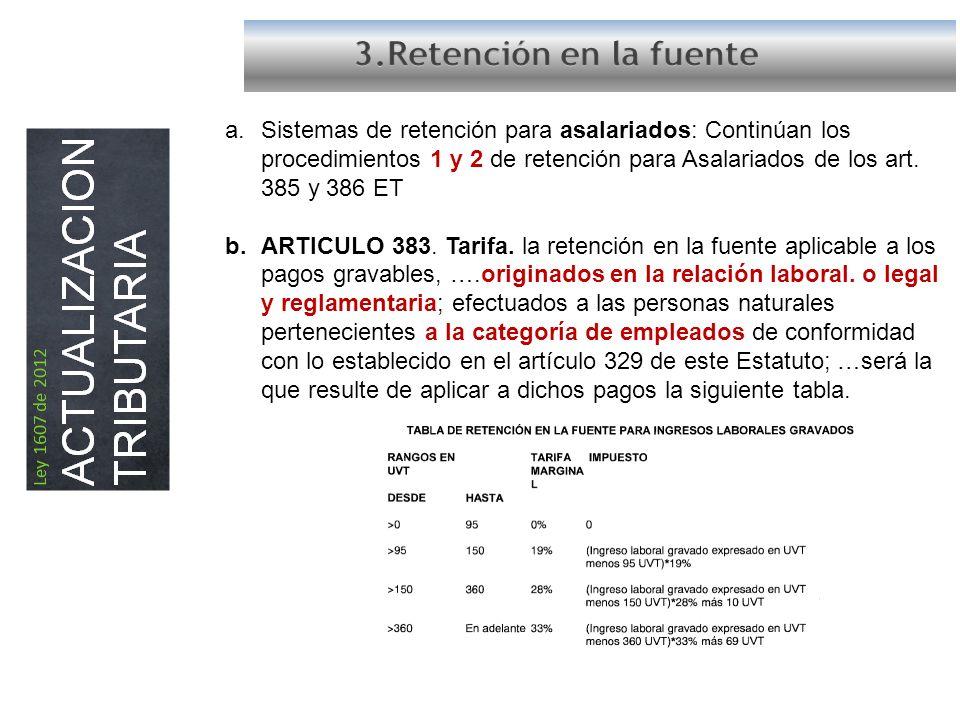 a.Sistemas de retención para asalariados: Continúan los procedimientos 1 y 2 de retención para Asalariados de los art.