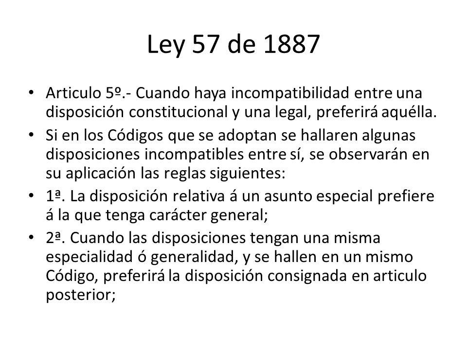 Ley 57 de 1887 Articulo 5º.- Cuando haya incompatibilidad entre una disposición constitucional y una legal, preferirá aquélla.