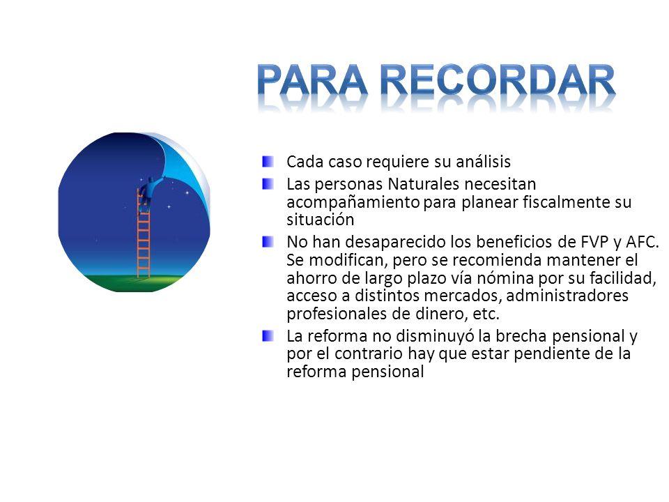 Cada caso requiere su análisis Las personas Naturales necesitan acompañamiento para planear fiscalmente su situación No han desaparecido los beneficios de FVP y AFC.