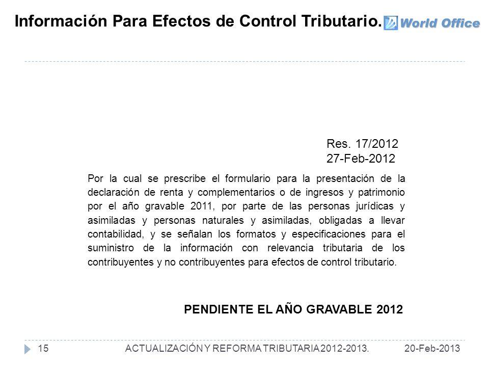 Información Para Efectos de Control Tributario.Res.