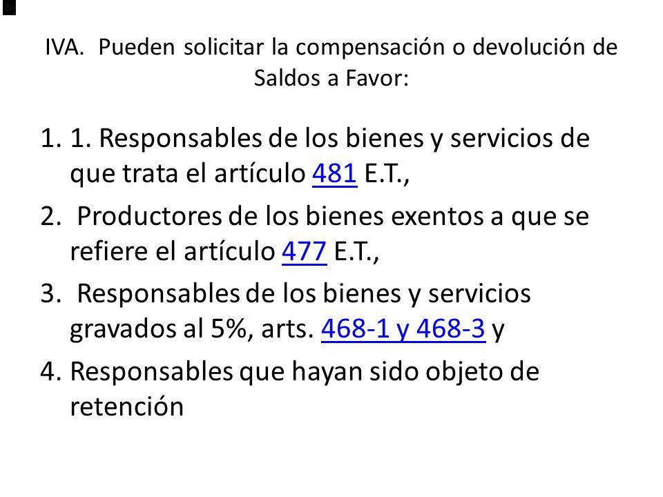 IVA.Pueden solicitar la compensación o devolución de Saldos a Favor: 1.1.
