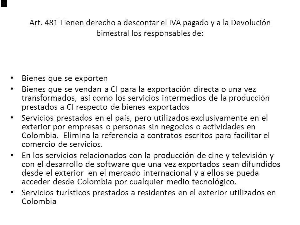 Art. 481 Tienen derecho a descontar el IVA pagado y a la Devolución bimestral los responsables de: Bienes que se exporten Bienes que se vendan a CI pa