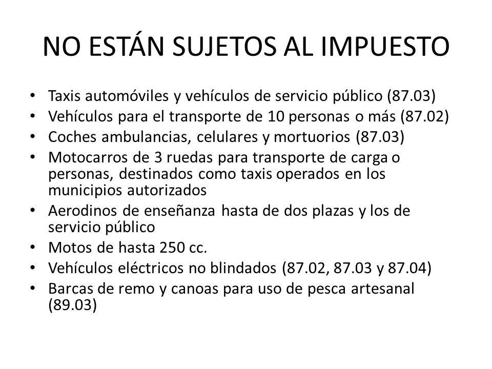 NO ESTÁN SUJETOS AL IMPUESTO Taxis automóviles y vehículos de servicio público (87.03) Vehículos para el transporte de 10 personas o más (87.02) Coches ambulancias, celulares y mortuorios (87.03) Motocarros de 3 ruedas para transporte de carga o personas, destinados como taxis operados en los municipios autorizados Aerodinos de enseñanza hasta de dos plazas y los de servicio público Motos de hasta 250 cc.