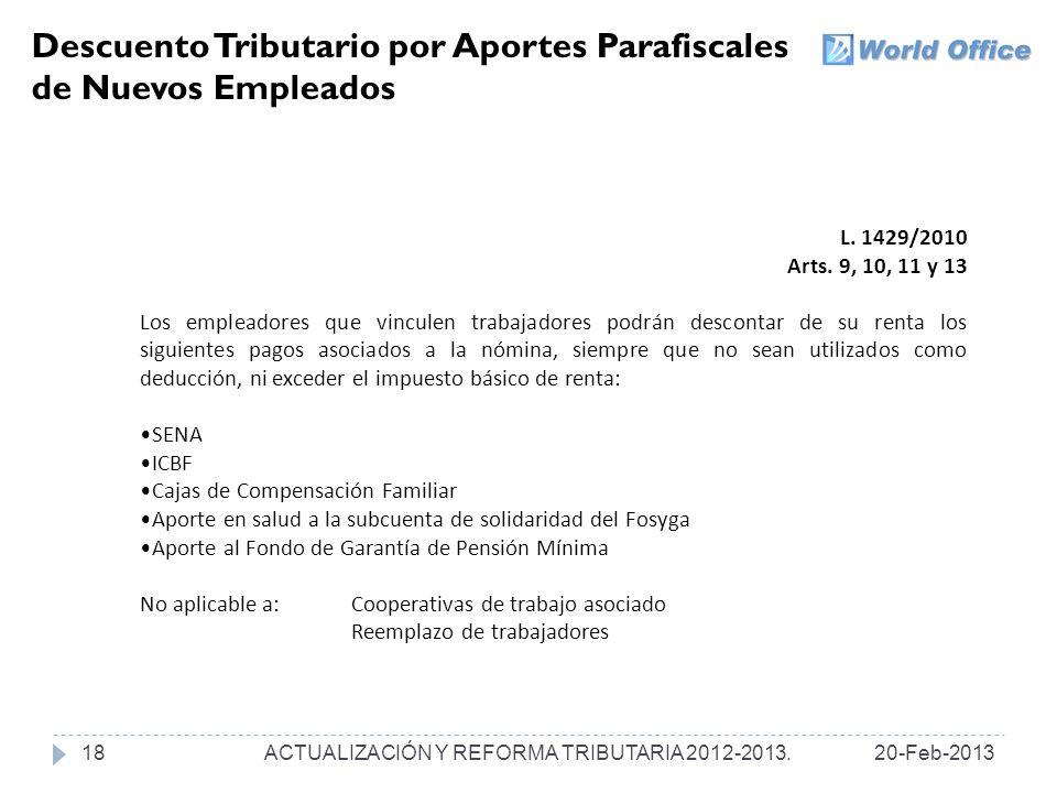 Descuento Tributario por Aportes Parafiscales de Nuevos Empleados L.