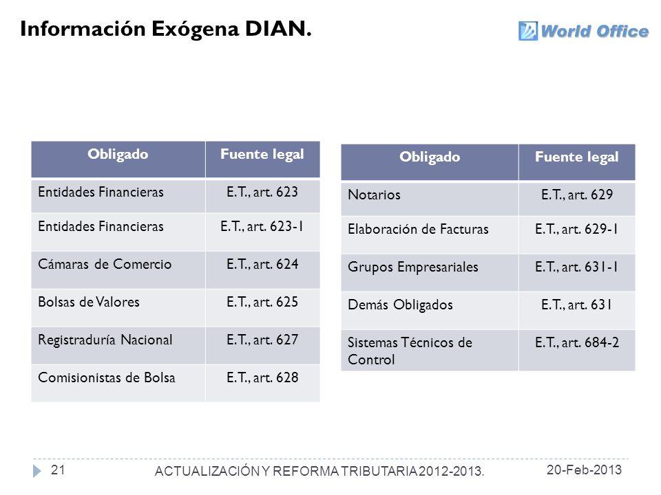 Información Exógena DIAN.ObligadoFuente legal Entidades FinancierasE.T., art.