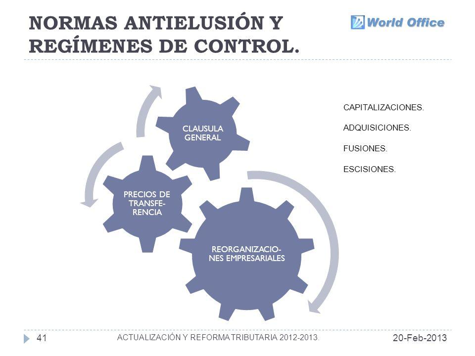 NORMAS ANTIELUSIÓN Y REGÍMENES DE CONTROL.