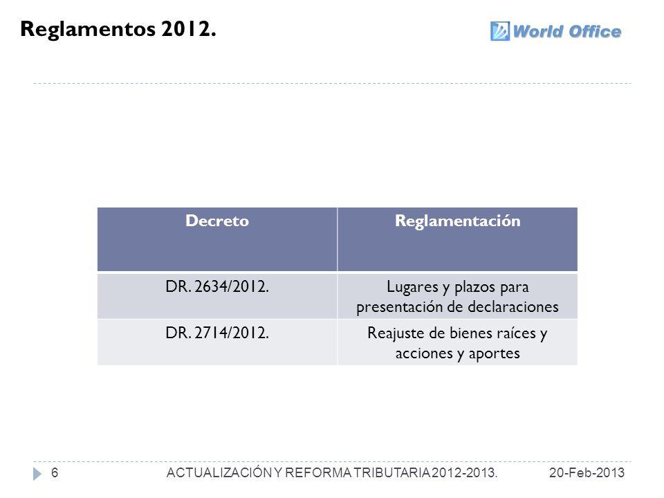 IMPUESTO NACIONAL AL CONSUMO.20-Feb-201337 ACTUALIZACIÓN Y REFORMA TRIBUTARIA 2012-2013.