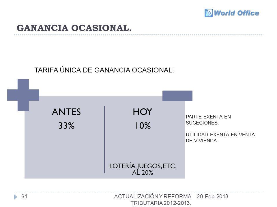 GANANCIA OCASIONAL.61 ANTES 33% HOY 10% LOTERÍA, JUEGOS, ETC.