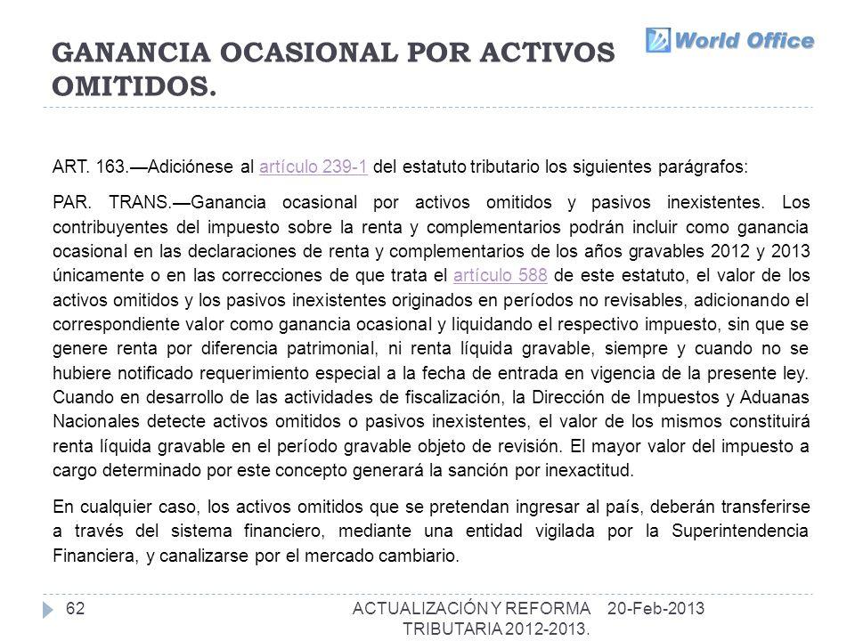 GANANCIA OCASIONAL POR ACTIVOS OMITIDOS.62 ART.