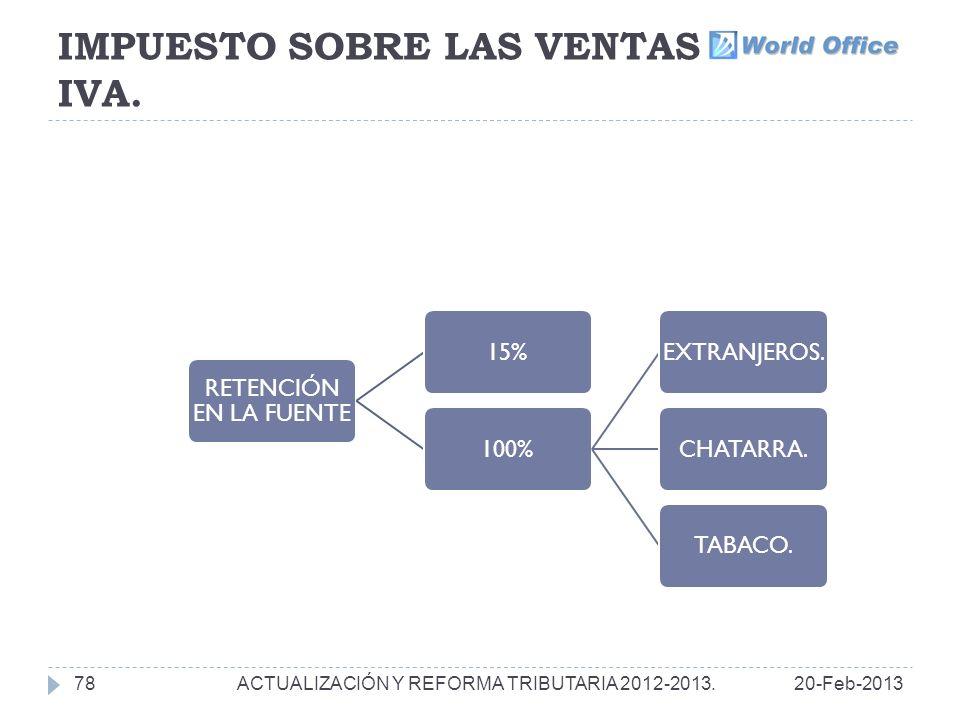 IMPUESTO SOBRE LAS VENTAS IVA.78 RETENCIÓN EN LA FUENTE 15%100%EXTRANJEROS.CHATARRA.TABACO.