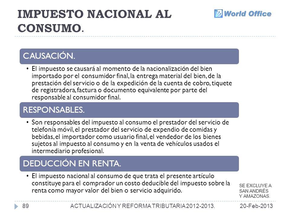 IMPUESTO NACIONAL AL CONSUMO.89 CAUSACIÓN.