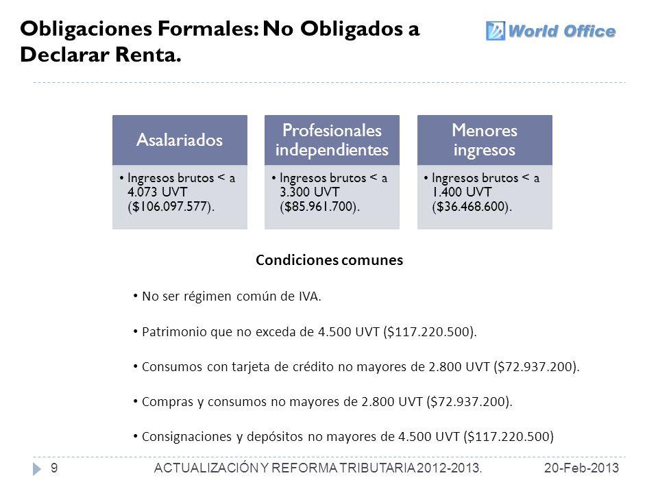 Obligaciones Formales: No Obligados a Declarar Renta.