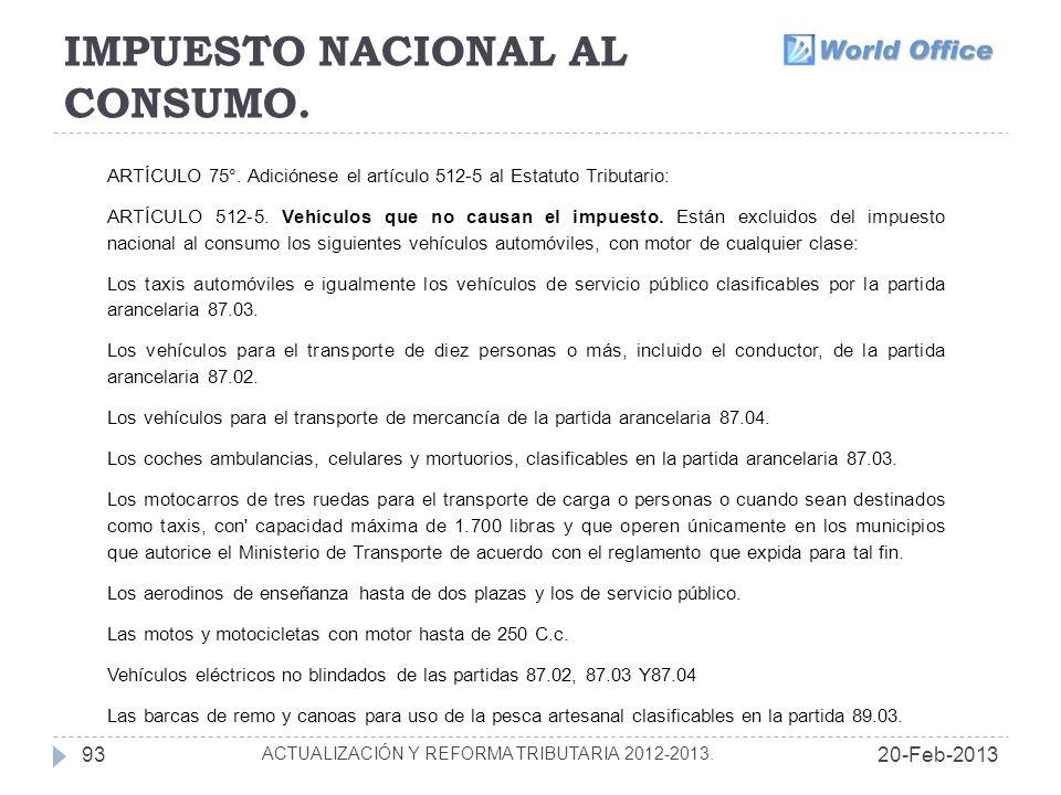 IMPUESTO NACIONAL AL CONSUMO.20-Feb-201393 ACTUALIZACIÓN Y REFORMA TRIBUTARIA 2012-2013.