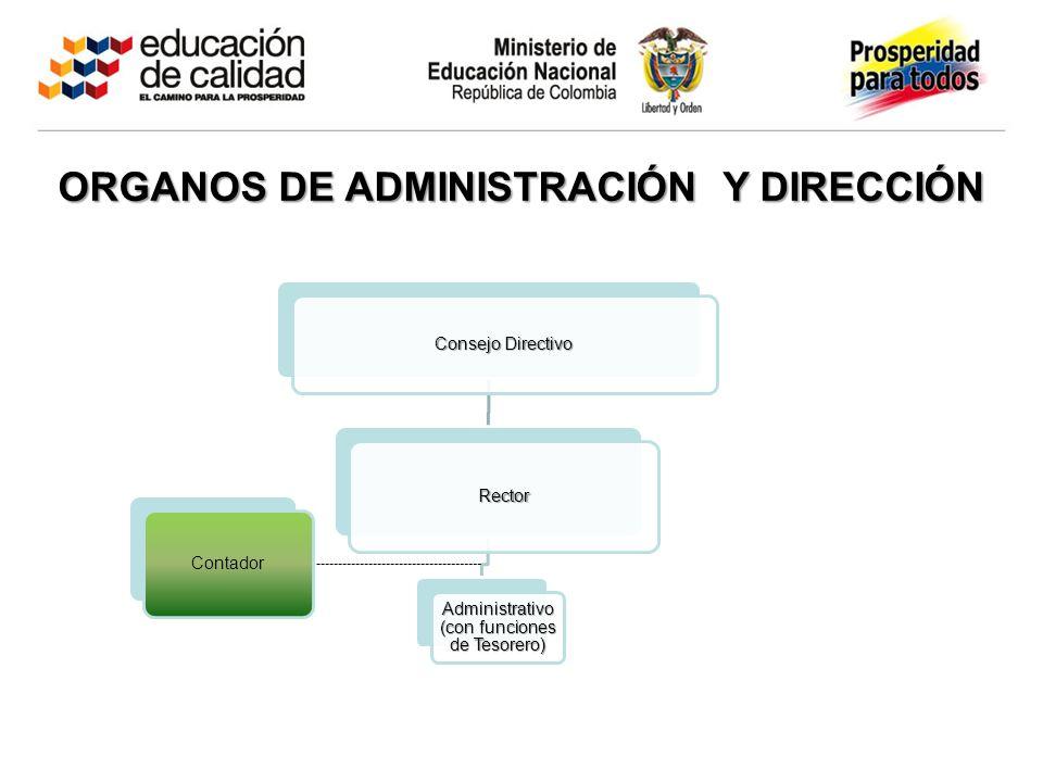 Consejo Directivo Rector Administrativo (con funciones de Tesorero) Contador ORGANOS DE ADMINISTRACIÓN Y DIRECCIÓN