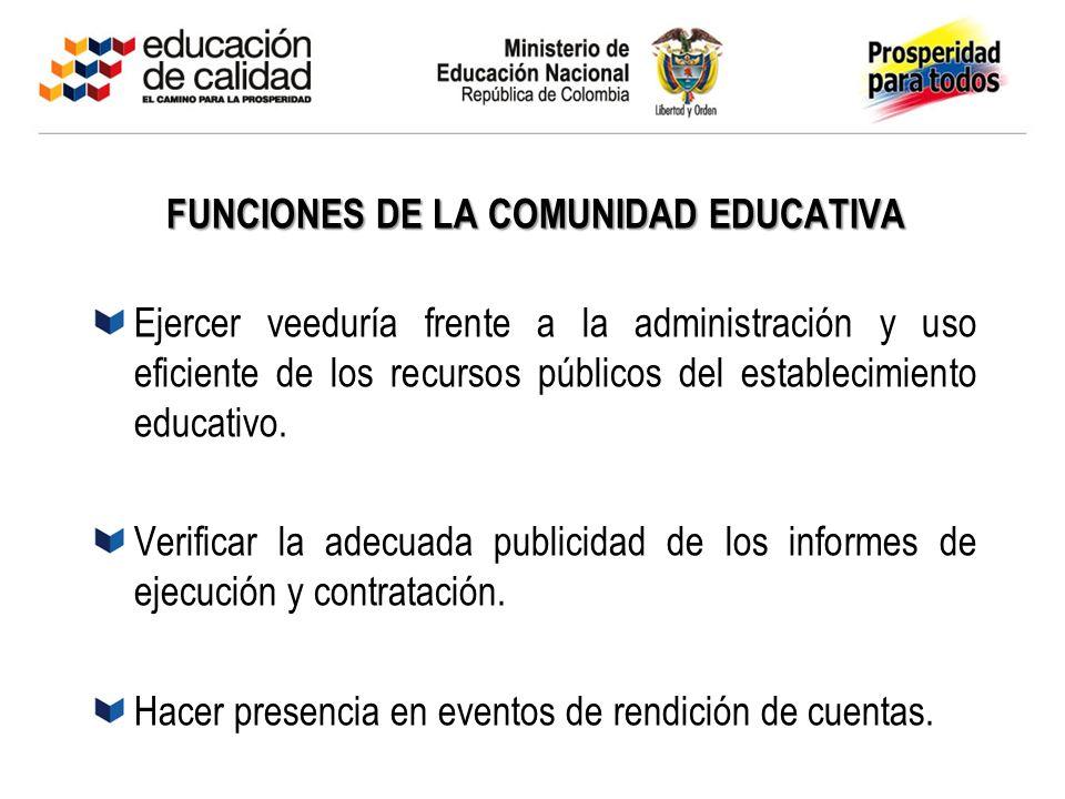 Mayo 05 de 2003 FUNCIONES DE LA COMUNIDAD EDUCATIVA Ejercer veeduría frente a la administración y uso eficiente de los recursos públicos del estableci