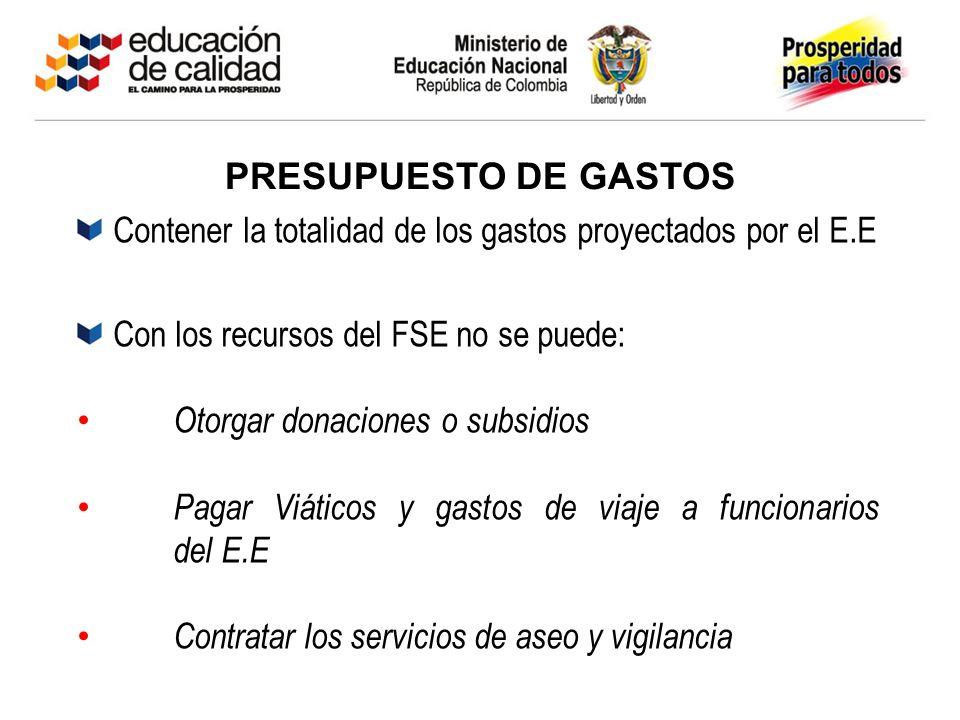 PRESUPUESTO DE GASTOS Contener la totalidad de los gastos proyectados por el E.E Con los recursos del FSE no se puede: Otorgar donaciones o subsidios