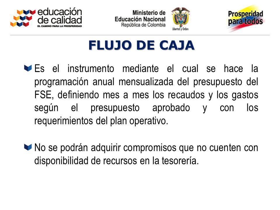 FLUJO DE CAJA Es el instrumento mediante el cual se hace la programación anual mensualizada del presupuesto del FSE, definiendo mes a mes los recaudos