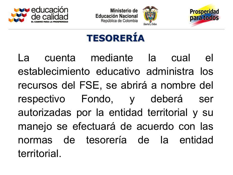 TESORERÍA La cuenta mediante la cual el establecimiento educativo administra los recursos del FSE, se abrirá a nombre del respectivo Fondo, y deberá s
