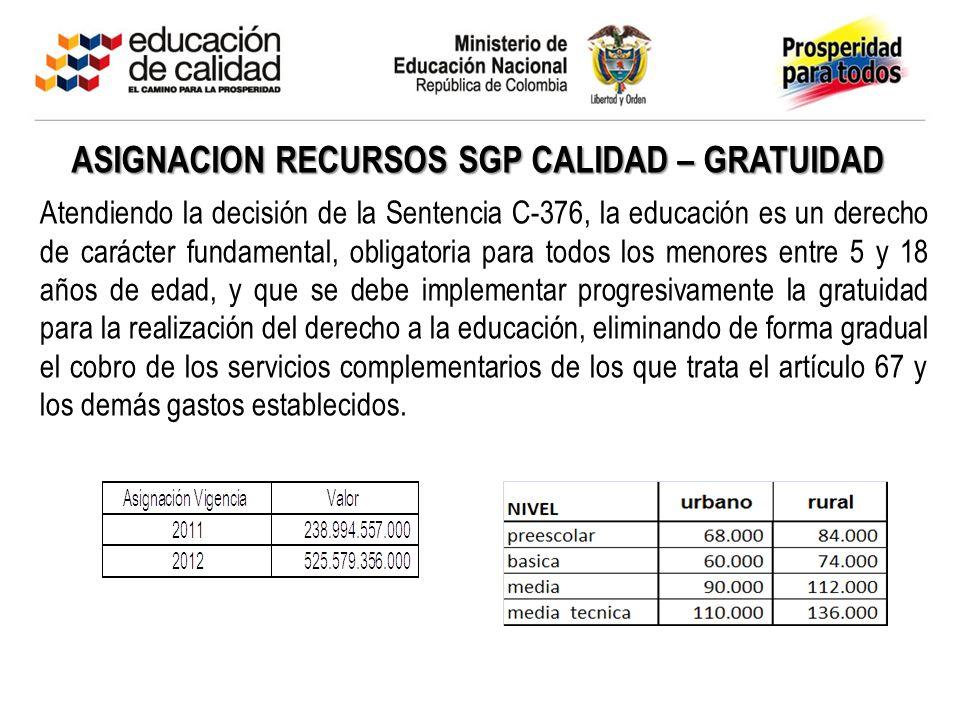 ASIGNACION RECURSOS SGP CALIDAD – GRATUIDAD Atendiendo la decisión de la Sentencia C-376, la educación es un derecho de carácter fundamental, obligato