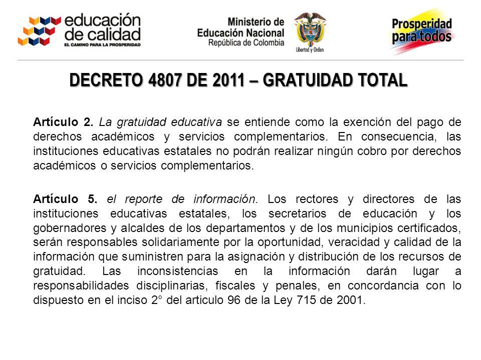 DECRETO 4807 DE 2011 – GRATUIDAD TOTAL Artículo 2. La gratuidad educativa se entiende como la exención del pago de derechos académicos y servicios com