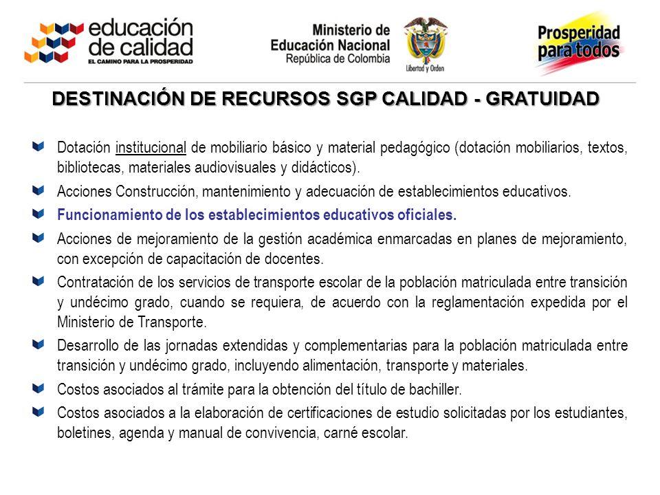DESTINACIÓN DE RECURSOS SGP CALIDAD - GRATUIDAD Dotación institucional de mobiliario básico y material pedagógico (dotación mobiliarios, textos, bibli