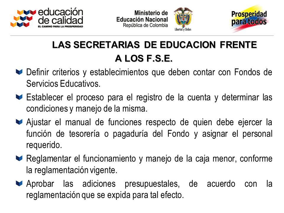 LAS SECRETARIAS DE EDUCACION FRENTE LAS SECRETARIAS DE EDUCACION FRENTE A LOS F.S.E. Definir criterios y establecimientos que deben contar con Fondos