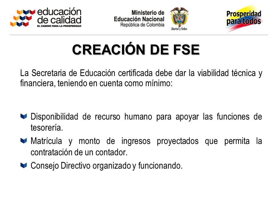 CREACIÓN DE FSE La Secretaria de Educación certificada debe dar la viabilidad técnica y financiera, teniendo en cuenta como mínimo: Disponibilidad de