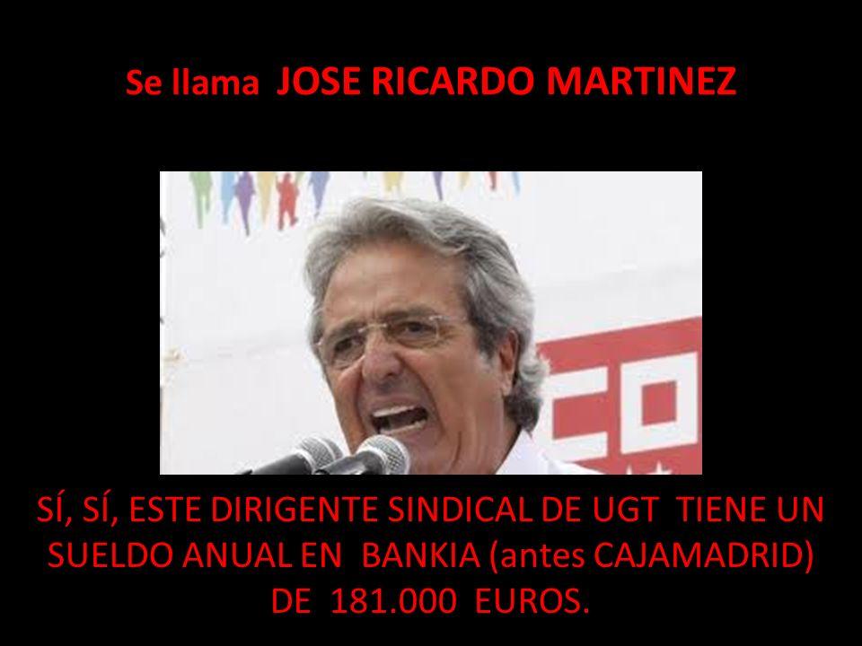 Se llama JOSE RICARDO MARTINEZ SÍ, SÍ, ESTE DIRIGENTE SINDICAL DE UGT TIENE UN SUELDO ANUAL EN BANKIA (antes CAJAMADRID) DE 181.000 EUROS.