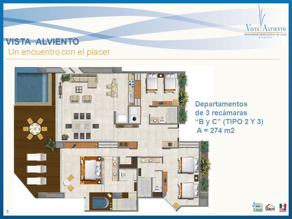 VISTA ALVIENTO Un encuentro con el placer Departamentos de 3 recámaras B y C (TIPO 2 Y 3) A = 274 m2 9