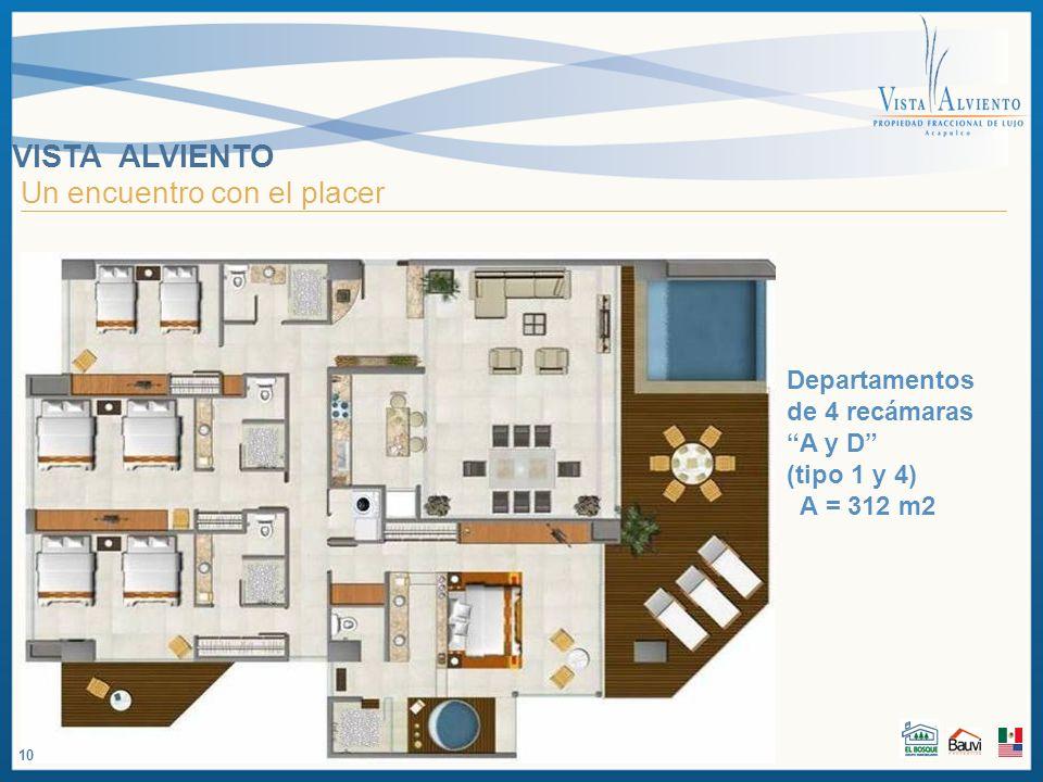 VISTA ALVIENTO Un encuentro con el placer Departamentos de 4 recámaras A y D (tipo 1 y 4) A = 312 m2 10