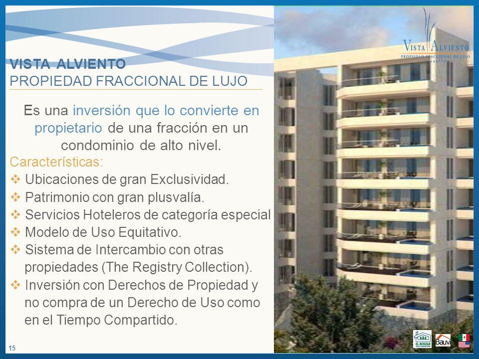 VISTA ALVIENTO PROPIEDAD FRACCIONAL DE LUJO Es una inversión que lo convierte en propietario de una fracción en un condominio de alto nivel. Caracterí