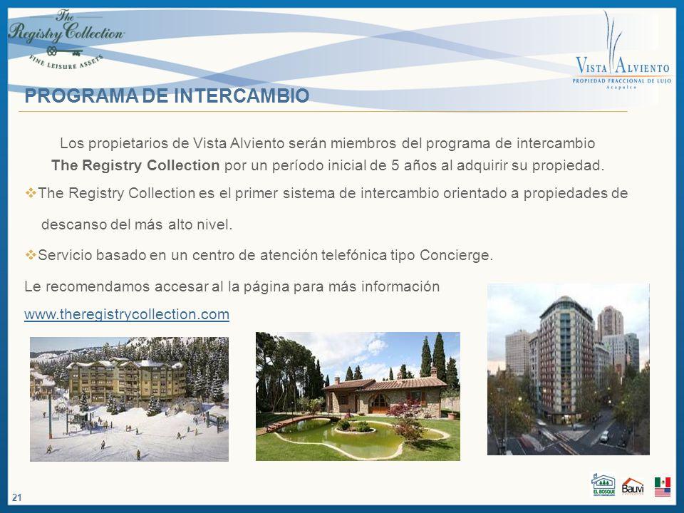 PROGRAMA DE INTERCAMBIO Los propietarios de Vista Alviento serán miembros del programa de intercambio The Registry Collection por un período inicial d